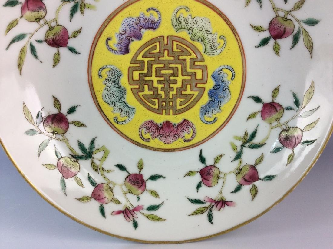Chinese famillie rose saucer with peach bat and mark - 3