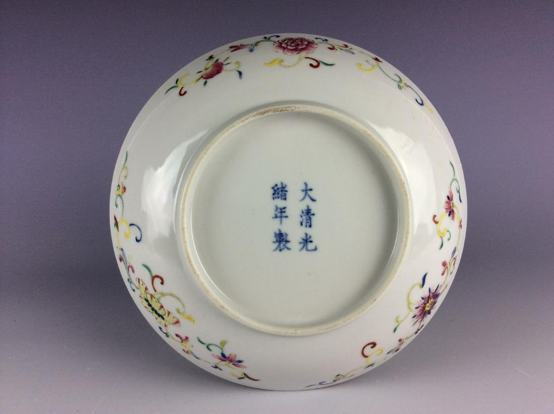 Chinese famillie rose saucer with peach bat and mark - 4