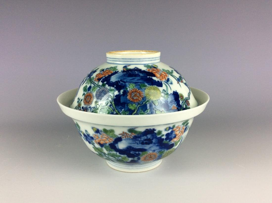 Chinese blue and white with over glaze colors covered