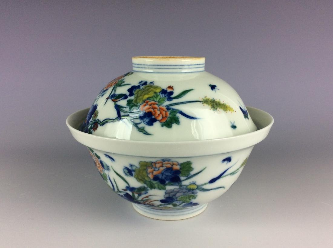 Chinese blue and white with over glaze colors covered - 3