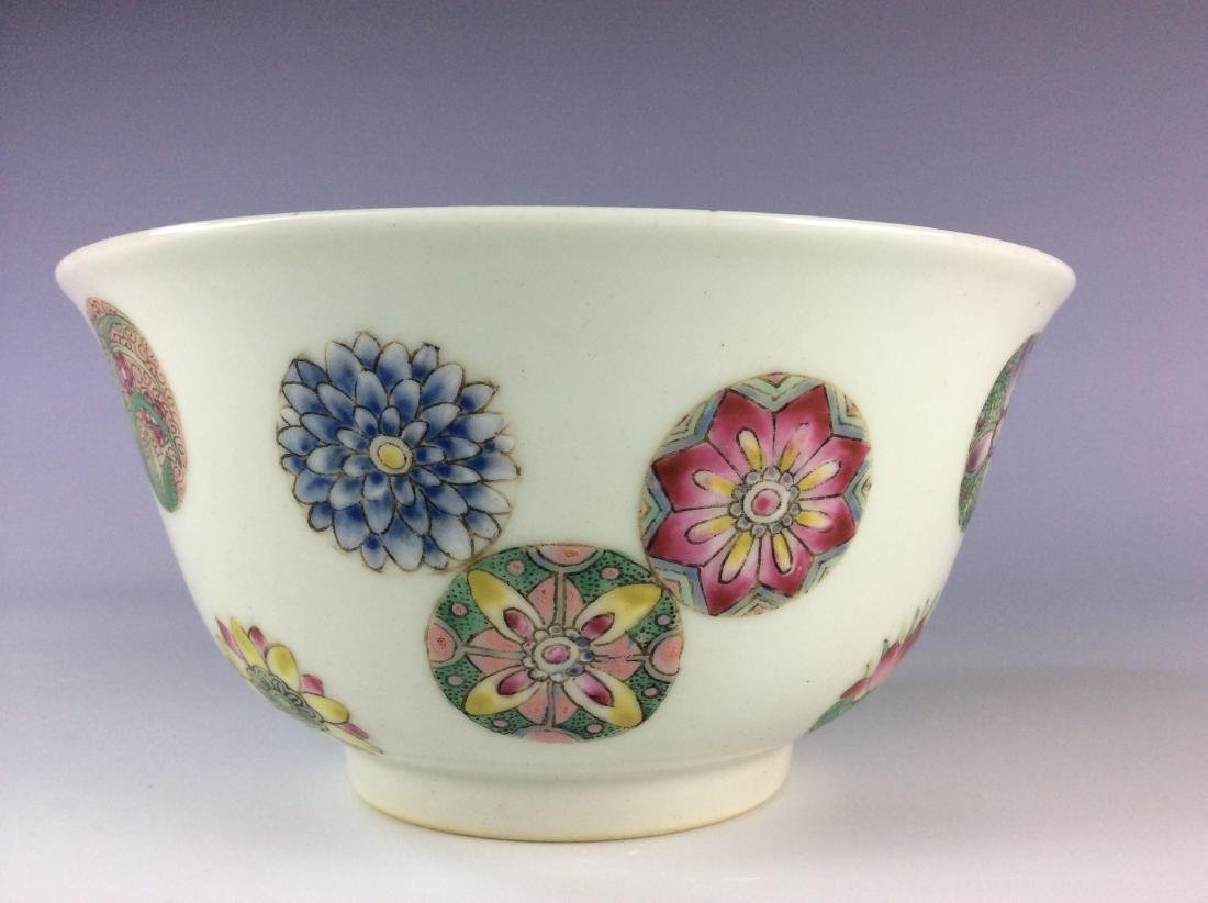 Chinese famillie rose  bowl with circular floral - 7