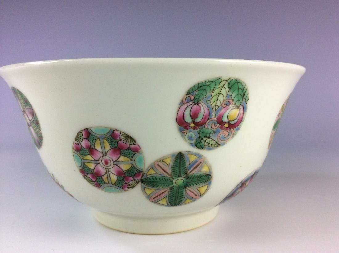Chinese famillie rose  bowl with circular floral - 8