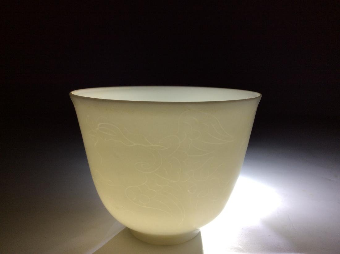 Chinese white glaze cup with engraving  dragon and - 2
