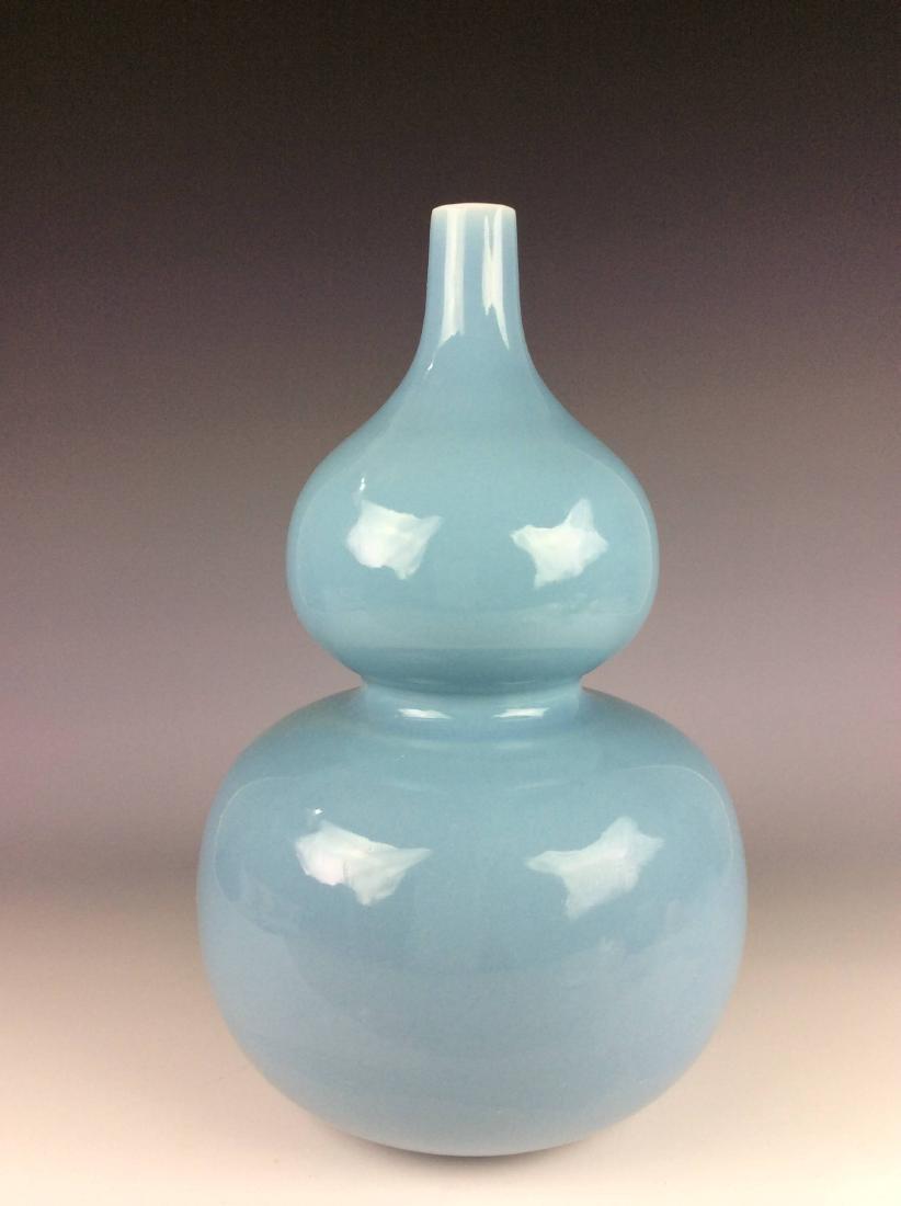 Fine Chinese porcelain vase , blue sky glazed, marked