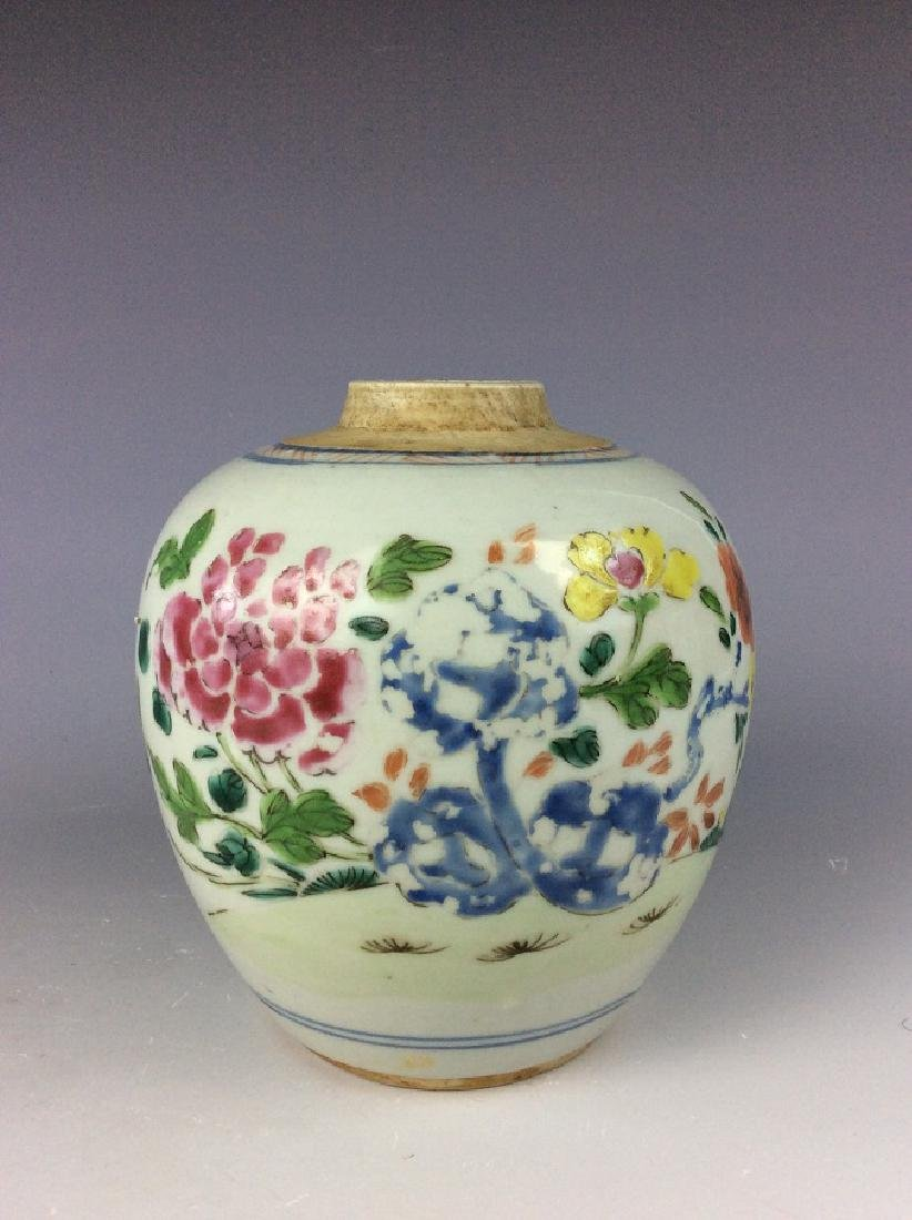Antique Chinese famille rose pot with floral