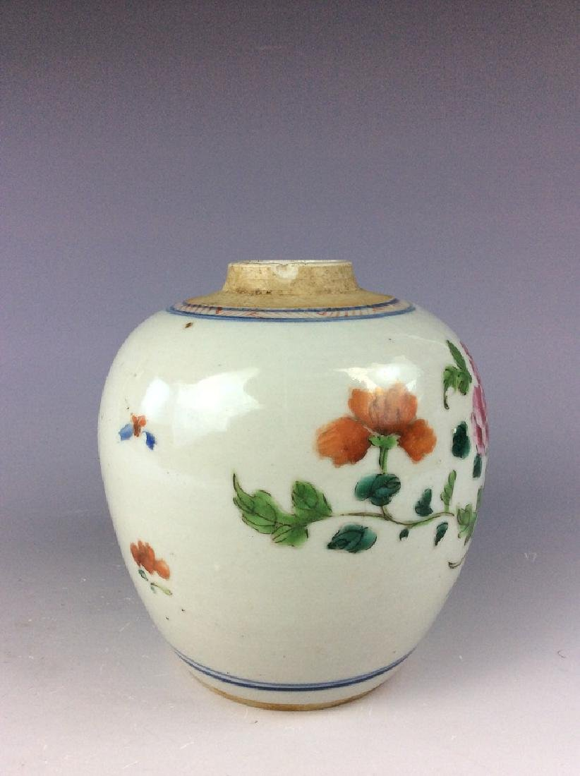 Antique Chinese famille rose pot with floral - 2