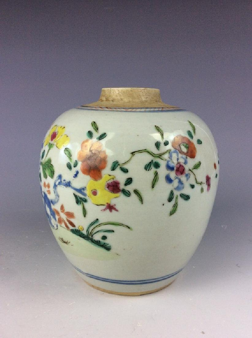 Antique Chinese famille rose pot with floral - 3