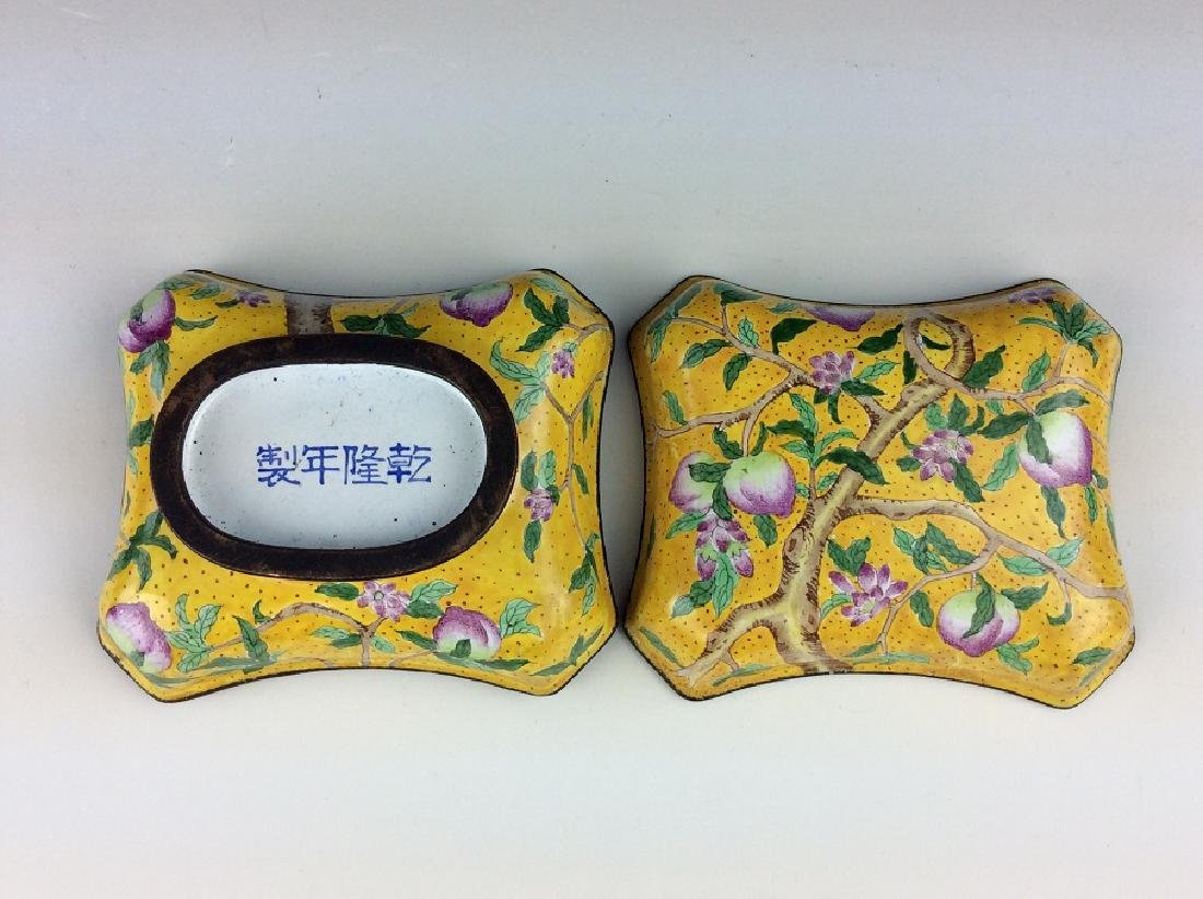 Chinese cloisonne box with peach branch,  mark on base.
