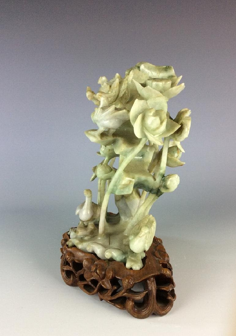 Vintage Chinese jade carved statue of crane and duck - 4