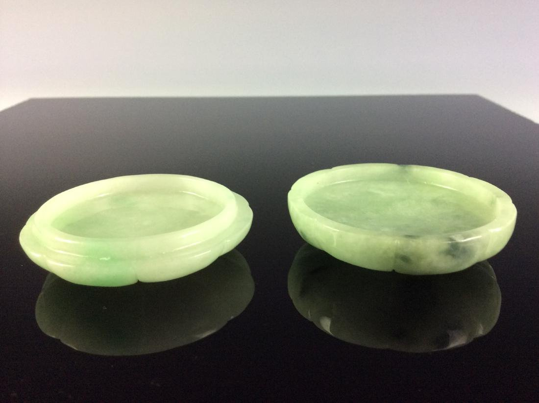Chinese jadeite carved round box in shape of flower. - 4