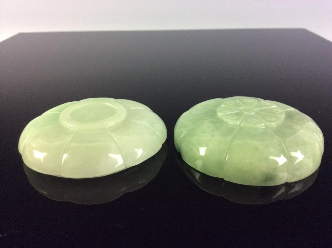 Chinese jadeite carved round box in shape of flower. - 5
