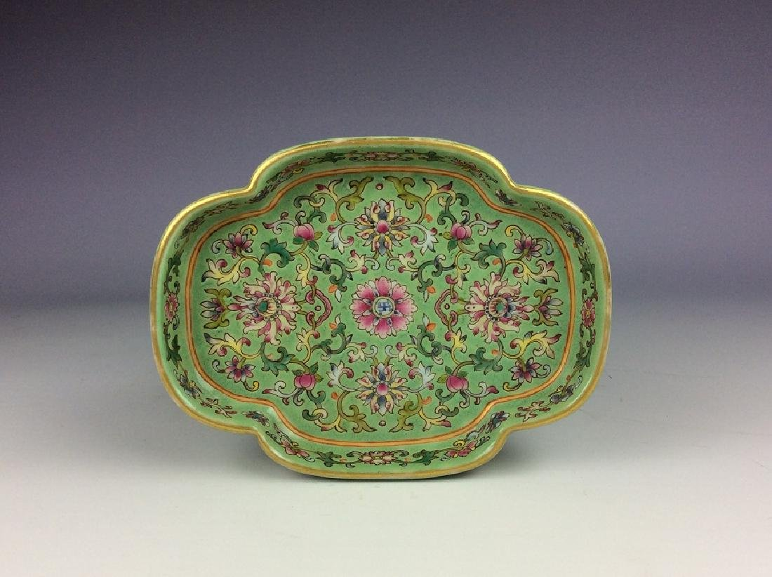 Vintage Chinese porcelain saucer with six-character