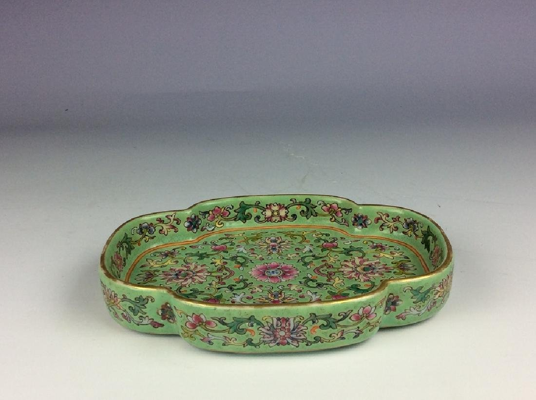 Vintage Chinese porcelain saucer with six-character - 3