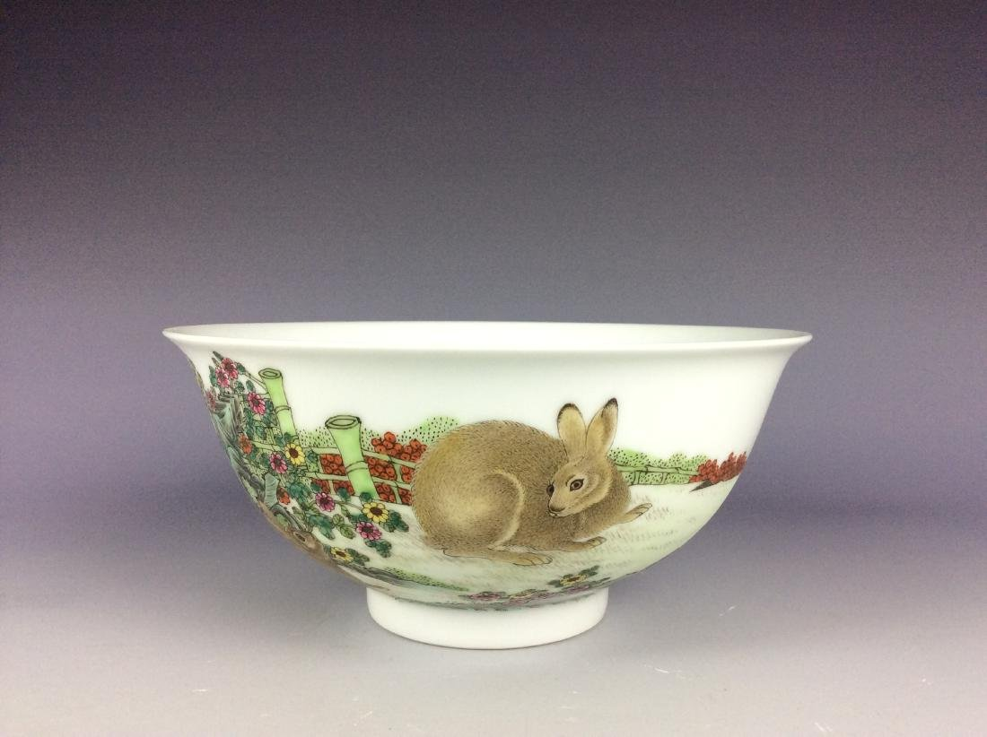 Chinese porcelain bowl  with rabbits and mark on base