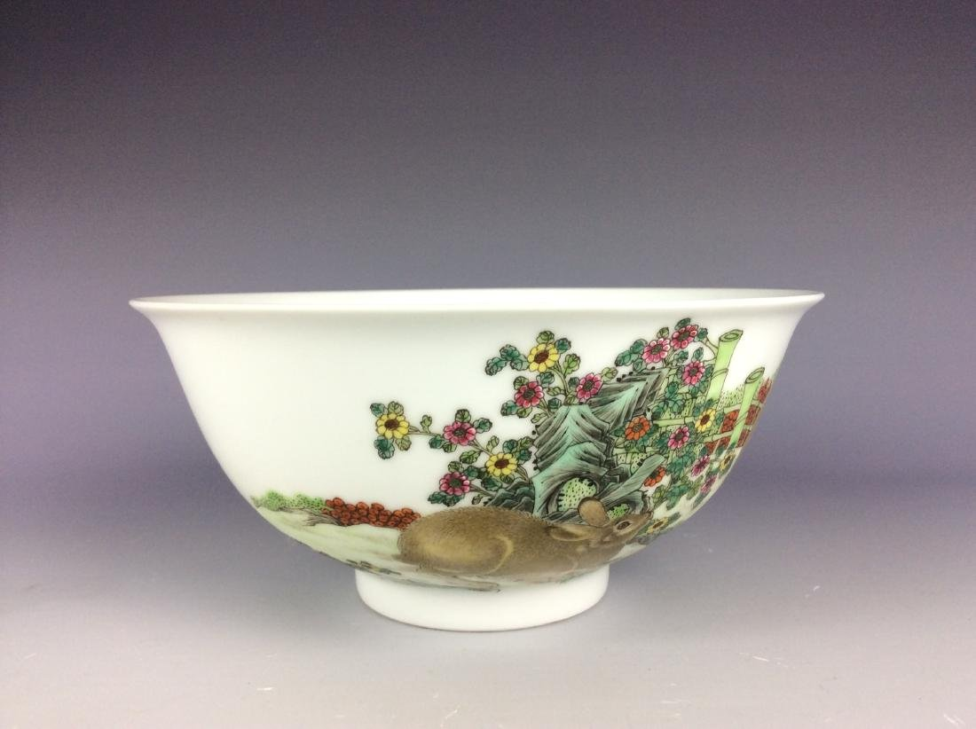 Chinese porcelain bowl  with rabbits and mark on base - 2