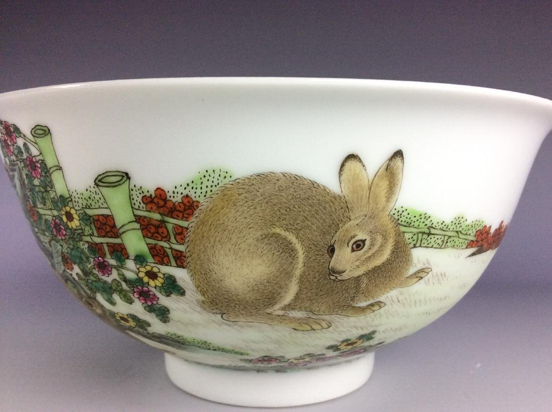 Chinese porcelain bowl  with rabbits and mark on base - 5