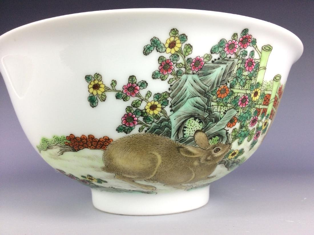 Chinese porcelain bowl  with rabbits and mark on base - 6