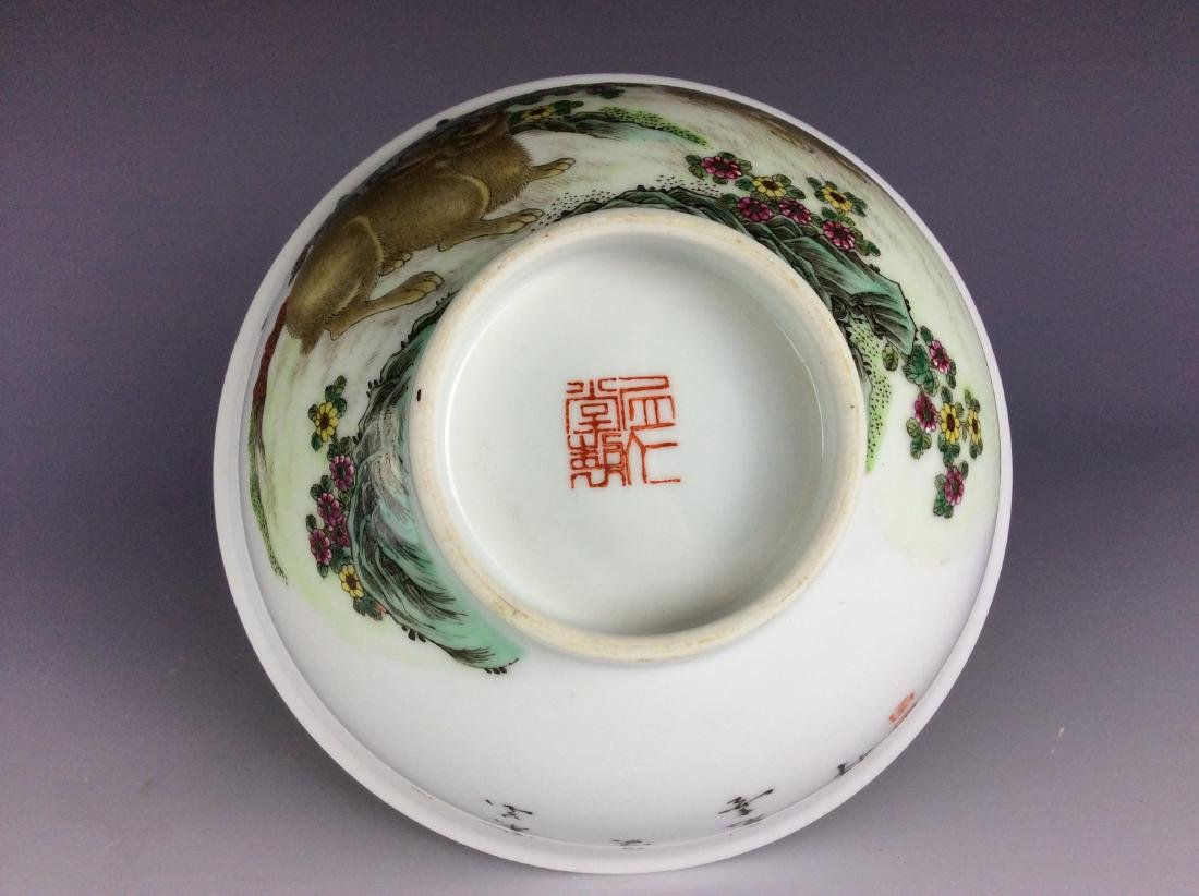 Chinese porcelain bowl  with rabbits and mark on base - 8
