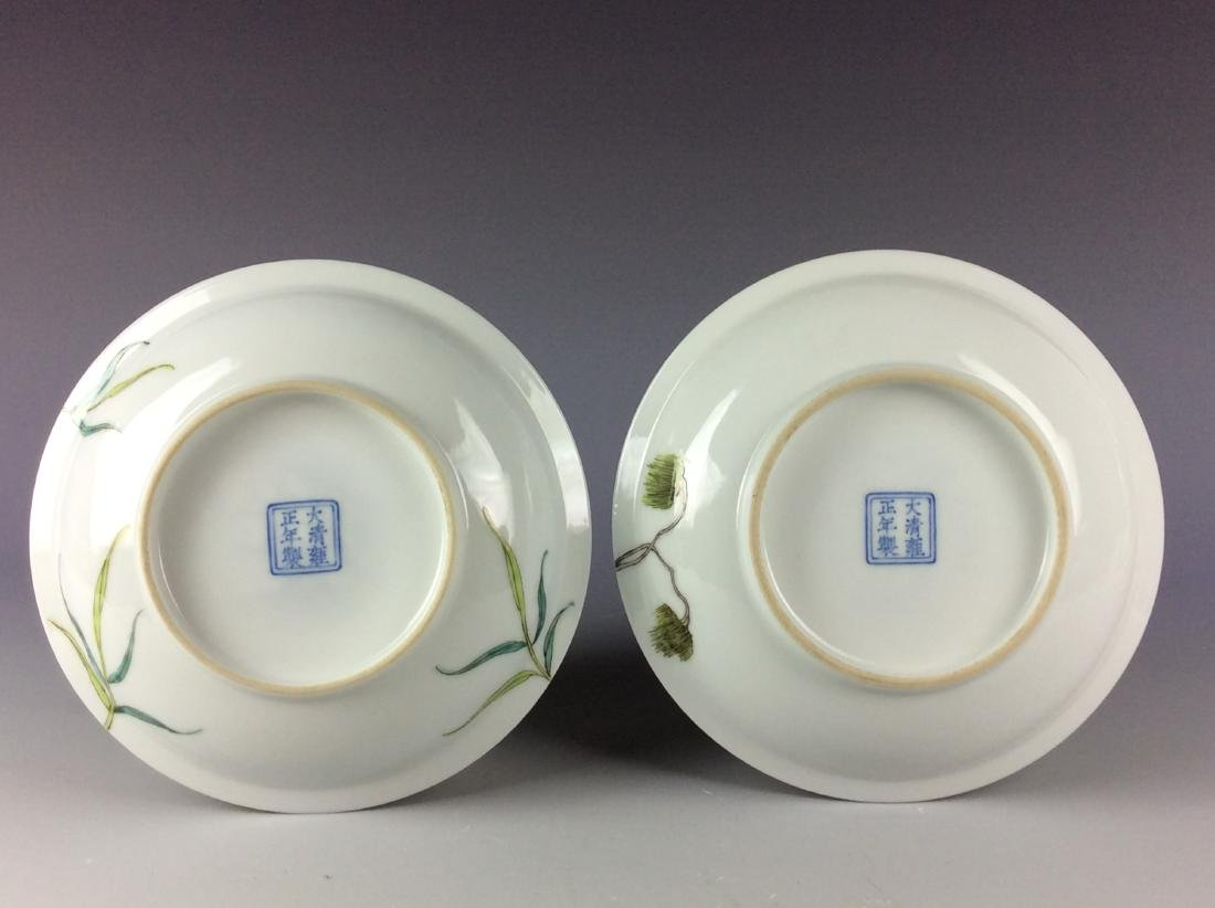 Pair of Chinese porcelain saucers with floral pattern - 3