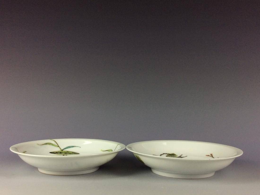 Pair of Chinese porcelain saucers with floral pattern - 4