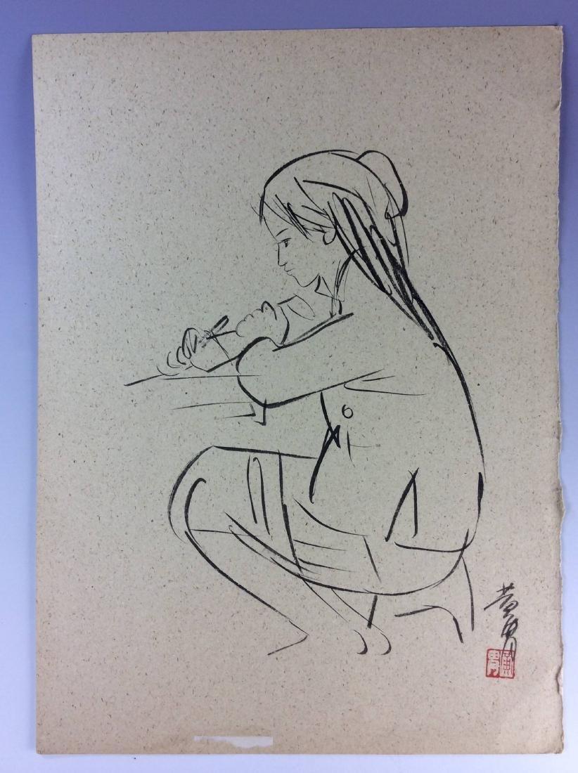 Set of three sketch leaves of figures - 2