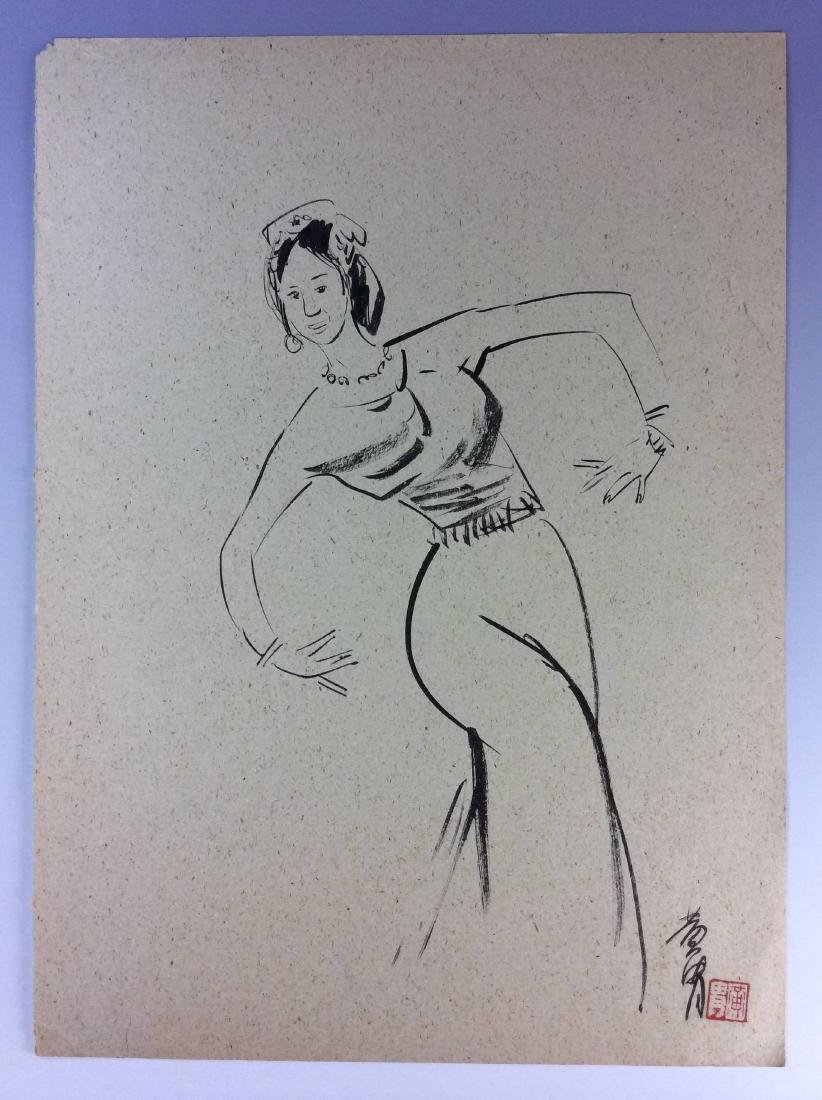 Set of three sketch leaves of figures - 3