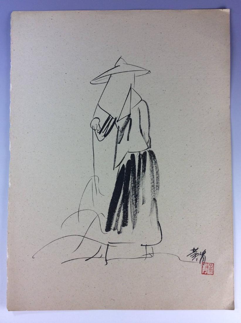 Set of three sketch leaves of figures - 5