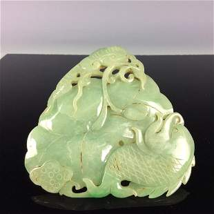 Chinese jadeite carved plaque with fish