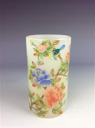Chinese glass brush pot with bird and rose