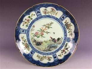 Chinese export porcelain platewith rooster and flowers