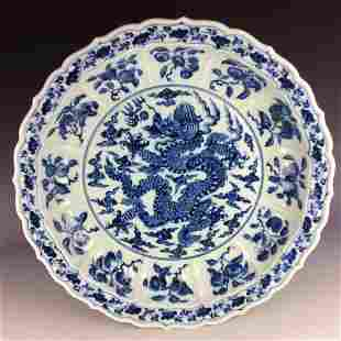 Large Chinese blue and white porcelain charger with