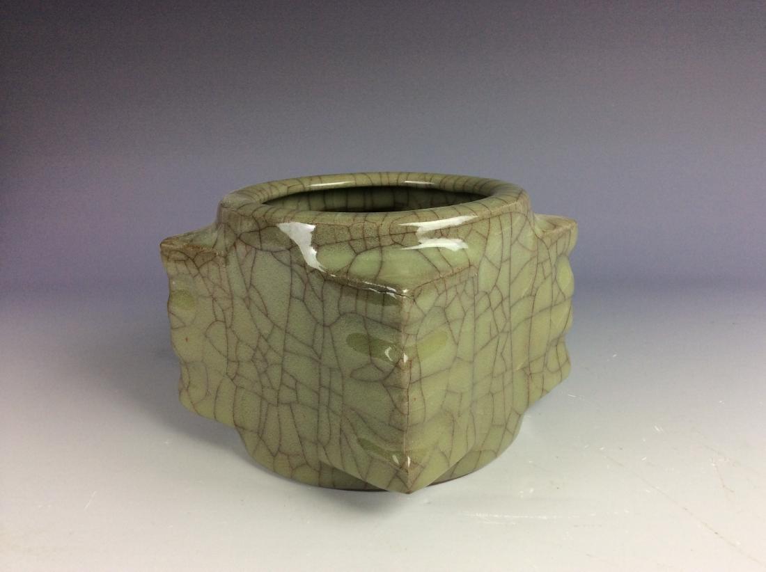 Chinese celadon crackled glaze square vessel