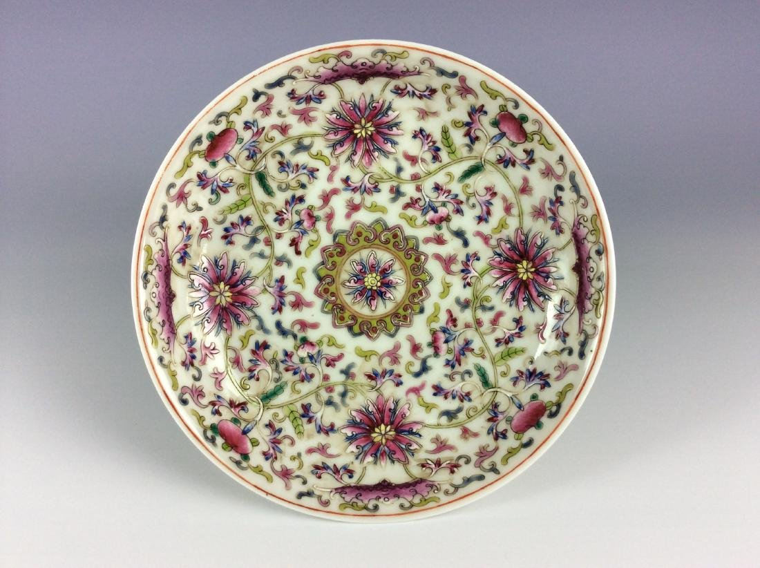 Chinese famillie rose plate with interlocking branch