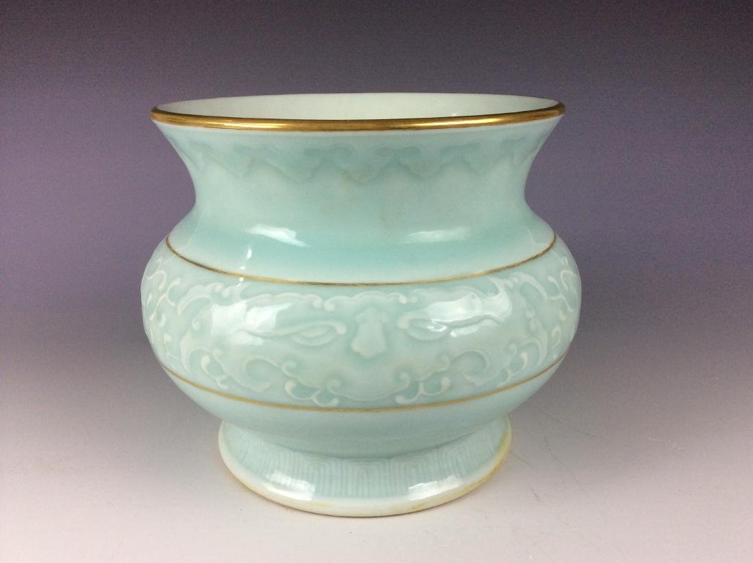 Elegant Chinese pastel green pot with mark