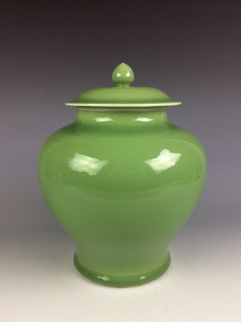 Vintage Chinese green glaze lidded pot mark on base