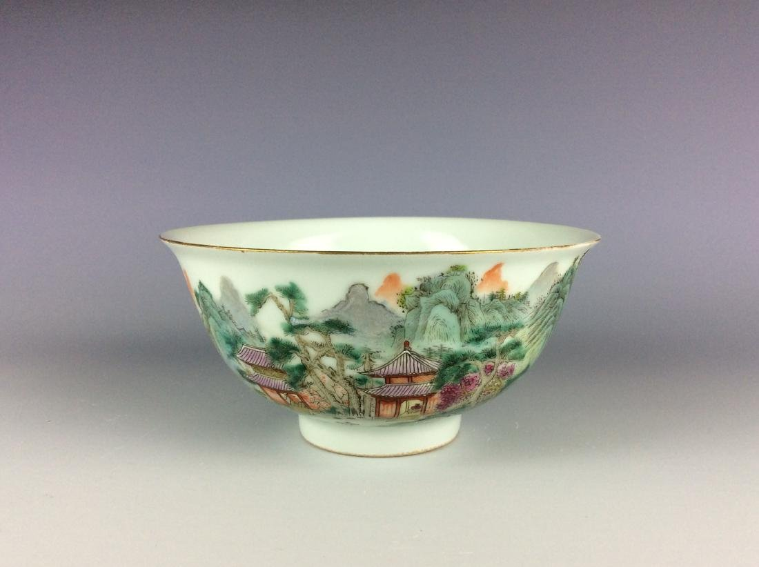 Chinese famillie rose bowl with mountain landscaping