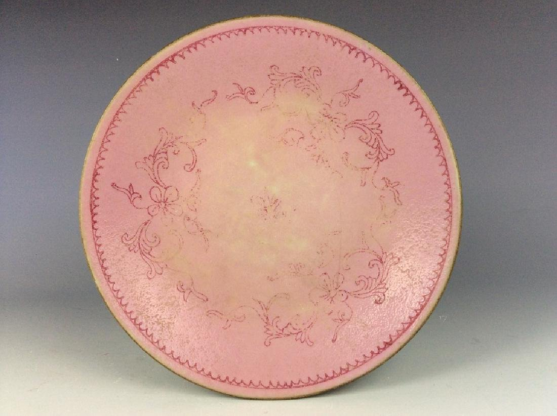 Vintage Chinese porcelain plate, pink glazed, decorated