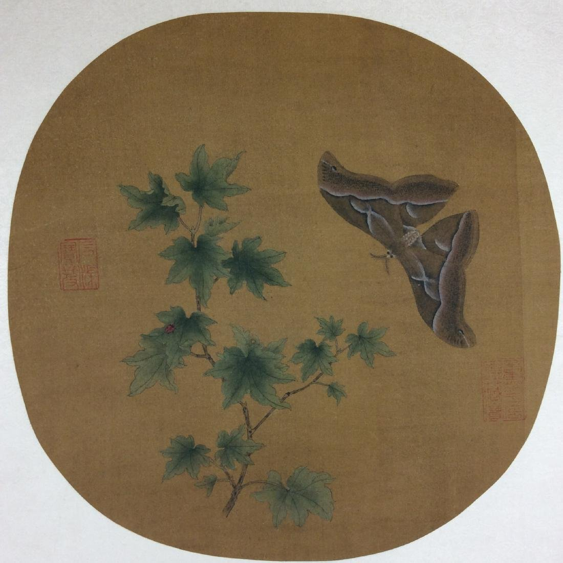 Chinese hand painted painting leave with butterfly
