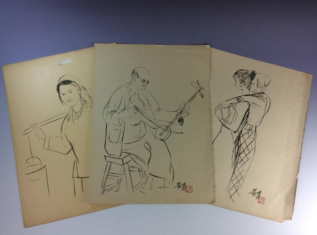 Set of three sketch leaves of figures