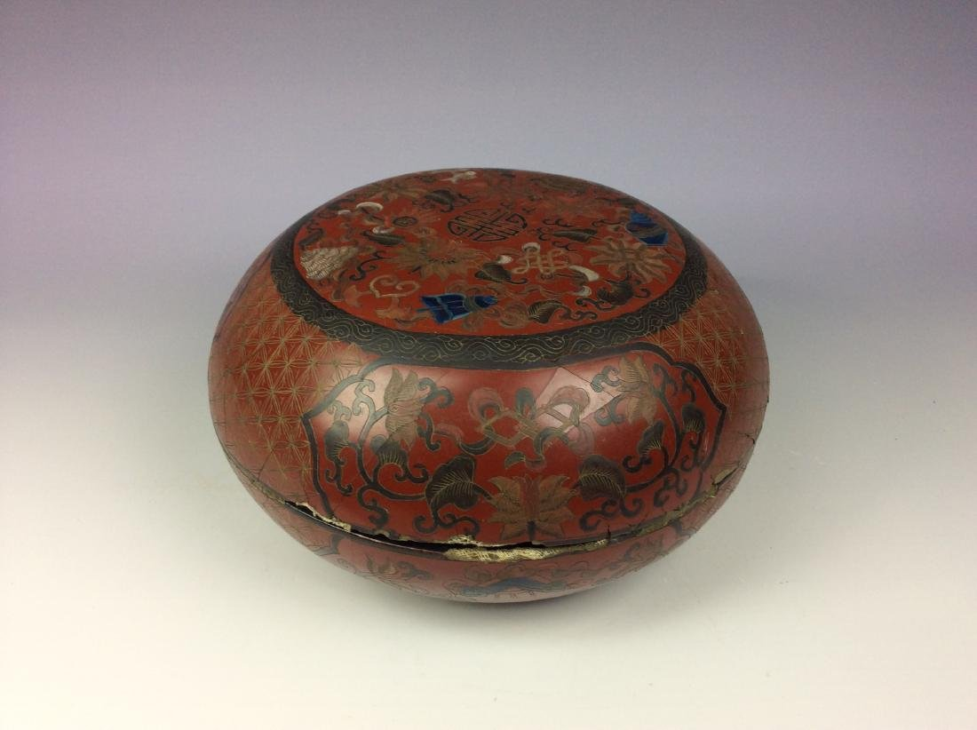 Vintage Chinese lacquer box with eight auspicious
