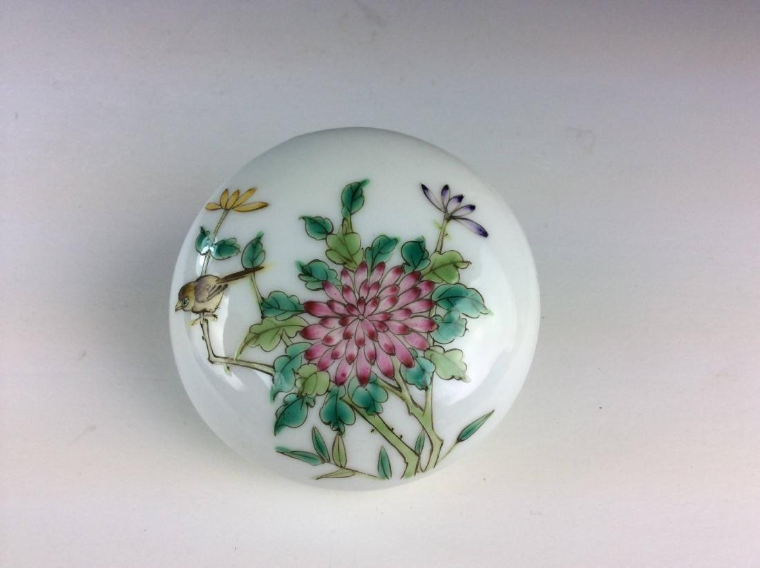 Chinese porcelain box with floral and bird