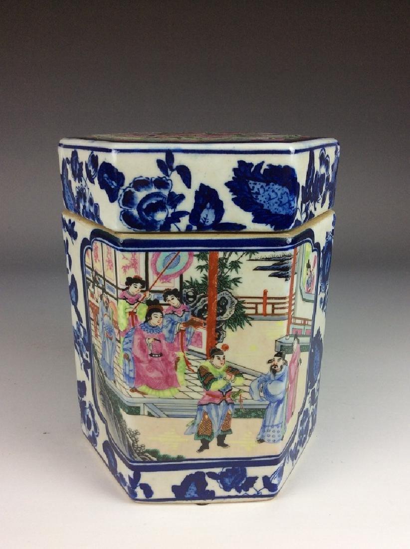 Chinese porcelain pot, famille rose on blue & white