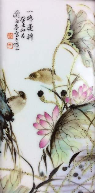 Framed Chinese porcelain plaque with lily pond and
