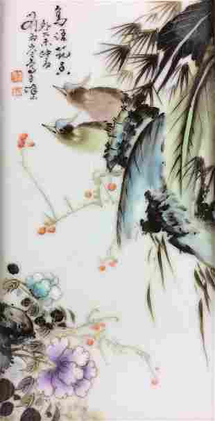 Framed Chinese porcelain plaque with bird peony and