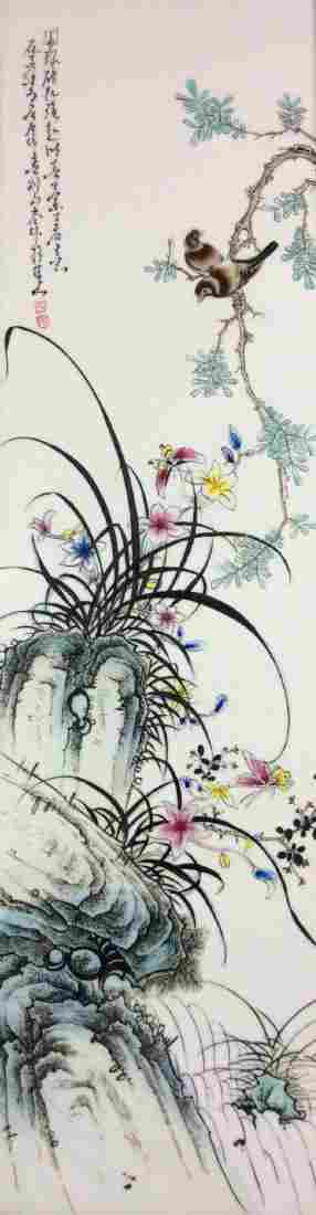 Pretty Chinese porcelain plaque decorated with cranes