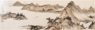 Chinese mountainous landscaping painting hand painted