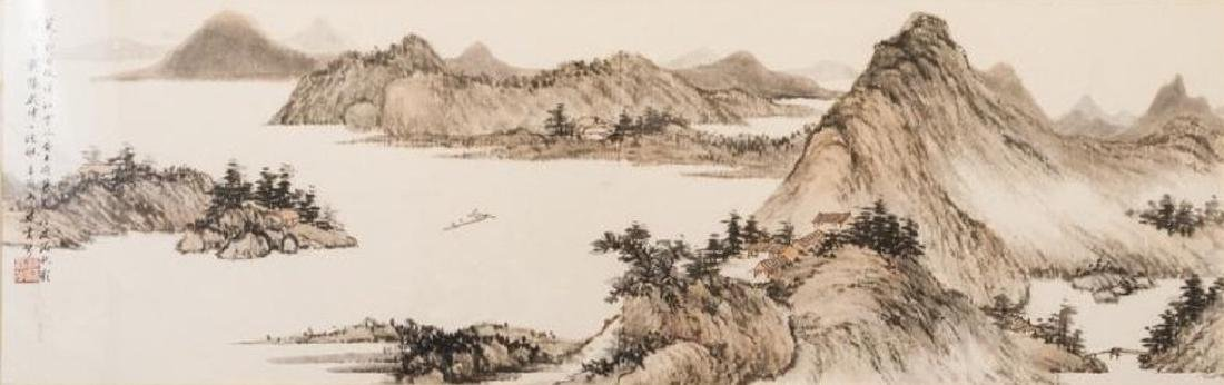 Chinese mountainous landscaping painting, hand painted
