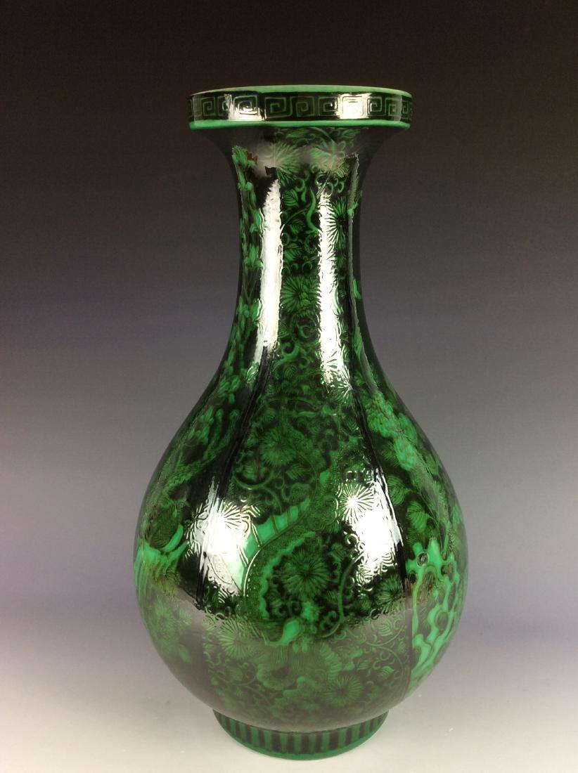 Chinese black ground vase  with malachite green birds