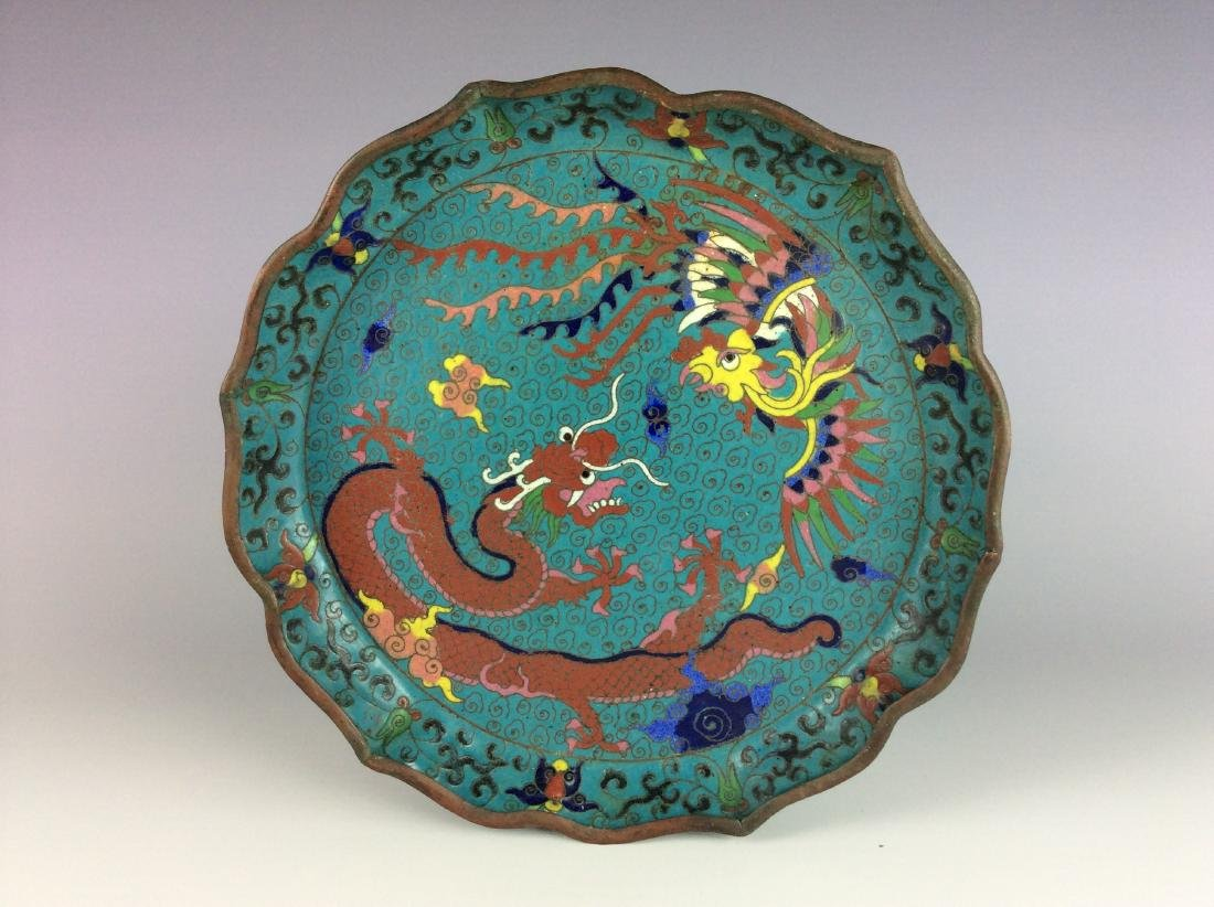 Chinese metal base cloisonne plate with dragon phoenix