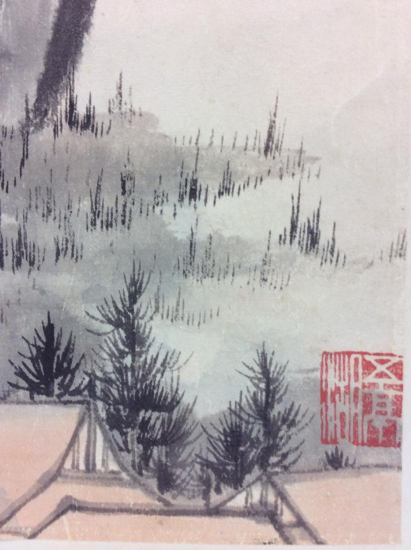 Chinese hand painted hanging scroll depicting mountain - 5